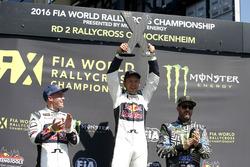 Podium: Winner Mattias Ekström, EKS RX; second place Toomas Heikkinen, EKS RX; third place Ken Block, Hoonigan Racing Division