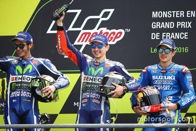 2016 : 1. Jorge Lorenzo, 2. Valentino Rossi, 3. Maverick Viñales