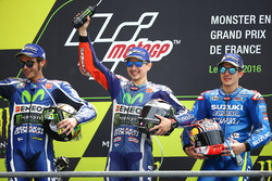 Podio: ganador Jorge Lorenzo, Yamaha Factory Racing, segundo Valentino Rossi, Yamaha Factory Racing, tercero Maverick Viñales, Team Suzuki MotoGP