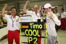 Tadashi Yamashina, Chairman and Team Principal, John Howett, Toyota Racing, President TMG and Timo Glock, Toyota F1 Team celebrate 2nd place