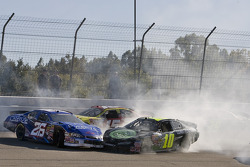 Kevin Conway and Justin Marks are just two of the cars involved in the multi car crash ont he frontstretch