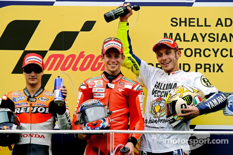 2009: 1. Casey Stoner, 2. Dani Pedrosa, 3. Valentino Rossi
