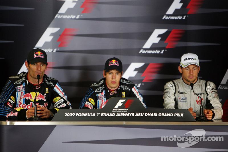 Conferencia de prensa de la FIA: ganador de la carrera Sebastian Vettel, Red Bull Racing, y el segun