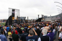 Fans fill the front straight for the ZZ Top concert