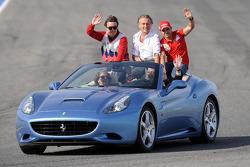 Fernando Alonso, Luca di Montezemolo and Felipe Massa in a Ferrari California