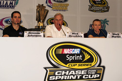 NASCAR championship contenders press conference in Coral Gables: Jimmie Johnson, Hendrick Motorsports Chevrolet, team owner Rick Hendrick, and Mark Martin, Hendrick Motorsports Chevrolet