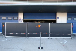 Barriers in front of the Mclaren garage