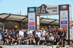 Auto's podium: vierde plaats Stéphane Peterhansel en Jean-Paul Cottret