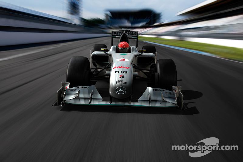 Computersimulatie van de Mercedes GP-auto op de baan