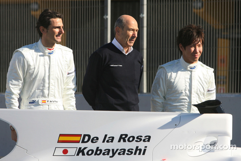 Pedro de la Rosa, BMW Sauber F1 Team, Peter Sauber, Directeur d'équipe, et Kamui Kobayashi, BMW Sauber F1 Team