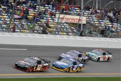 Brad Keselowski, Penske Racing Dodge, Kurt Busch, Penske Racing Dodge, Matt Kenseth, Roush Fenway Racing Ford and Dale Earnhardt Jr., Hendrick Motorsports Chevrolet