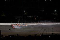 Bill Elliott, Wood Brothers Racing Ford, Joey Logano, Joe Gibbs Racing Toyota and Boris Said, Latitude 43 Motorsports Ford crash
