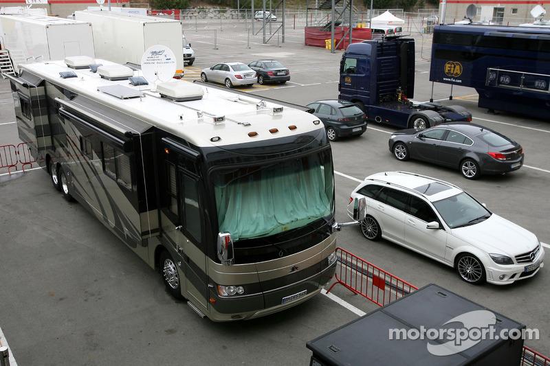Motorhome of michael schumacher mercedes gp at barcelona Micheal motors