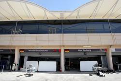 The garages of Sebastian Vettel, Red Bull Racing, Michael Schumacher, Mercedes GP Petronas
