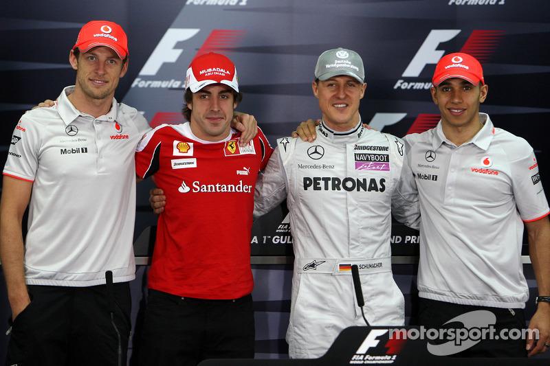 The 4 world champions, Jenson Button, McLaren Mercedes, Fernando Alonso, Scuderia Ferrari, Michael Schumacher, Mercedes GP Petronas, Lewis Hamilton, McLaren Mercedes