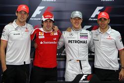 Die 4 Weltmeister: Jenson Button, McLaren Mercedes, Fernando Alonso, Scuderia Ferrari, Michael Schumacher, Mercedes GP Petronas, Lewis Hamilton, McLaren Mercedes