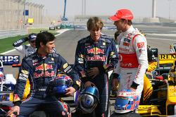 Mark Webber, Red Bull Racing with Sebastian Vettel, Red Bull Racing and Jenson Button, McLaren Mercedes