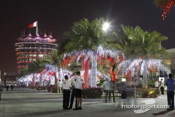 Bahrain paddock at night