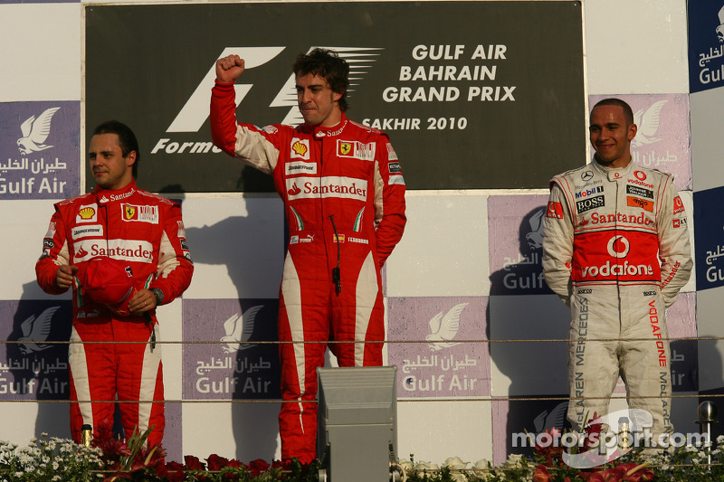 2010 - 1. Fernando Alonso 2. Felipe Massa 3. Lewis Hamilton