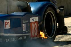 Brake fire on the Team Peugeot Total Peugeot 908 HDI FAP