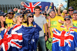 Mark Webber, Red Bull Racing with his fan club