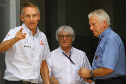 Martin Whitmarsh, McLaren, Chief Executive Officer with Bernie Ecclestone and Charlie Whiting, FIA safety delegate, Race director & offical starter
