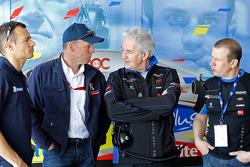 Stéphane Sarrazin, Peugeot Sport director Olivier Quesnel, Hugues de Chaunac and Oliver Panis