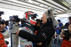 Pole winner Nicolas Lapierre celebrates with Hugues de Chaunac