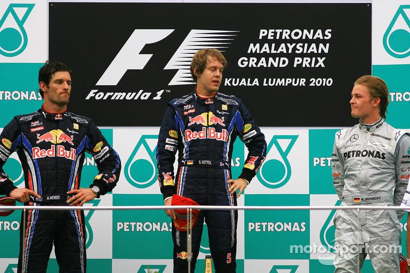 2010 : 1. Sebastian Vettel, 2. Mark Webber, 3. Nico Rosberg