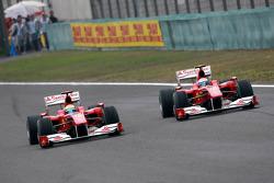 Felipe Massa, Scuderia Ferrari leads Fernando Alonso, Scuderia Ferrari