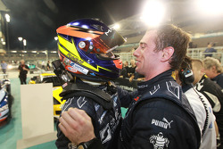 Race winners Romain Grosjean and Thomas Mutsch celebrate