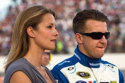 A.J. Allmendinger, Richard Petty Motorsports Ford and wife Lynn