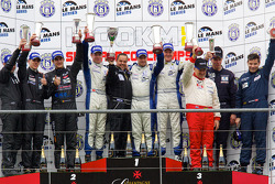 FLM podium: class winners class winners Steve Zacchia, Luca Moro and Wolfgang Kaufmann, second place Dominik Kraihamer, Nicolas de Crem and Bernard Delhez, third place Peter Kutemann, Maurice Basso and John Hartshorne
