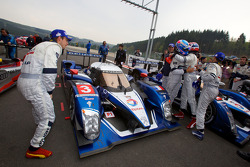 Race winners Pedro Lamy, Sébastien Bourdais and Simon Pagenaud celebrate with teammates
