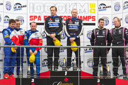 LMP2 podium: class winners Miguel Amaral and Olivier Pla, second place Thomas Erdos, Mike Newton and Andy Wallace, third place Richard Hein and Guillaume Moreau