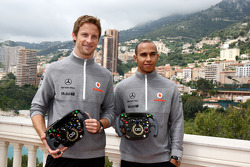 Jenson Button, McLaren Mercedes, Lewis Hamilton, McLaren Mercedes with Monaco editiion helmets and steering wheels with Steinmetz Diamonds