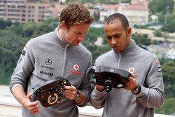 Jenson Button, McLaren Mercedes, Lewis Hamilton, McLaren Mercedes with Monaco edition steering wheels with Steinmetz Diamonds