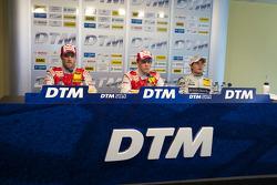Post-race press conference: race winner Mattias Ekström, Audi Sport Team Abt, second place Martin Tomczyk, Audi Sport Team Abt, third place Bruno Spengler, Team HWA AMG Mercedes