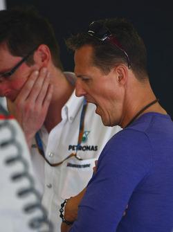 Andrew Shovlin, Mercedes GP, Senior Race Engineer to Michael Schumacher with Michael Schumacher, Mercedes GP