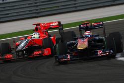 Timo Glock, Virgin Racing and Sebastien Buemi, Scuderia Toro Rosso