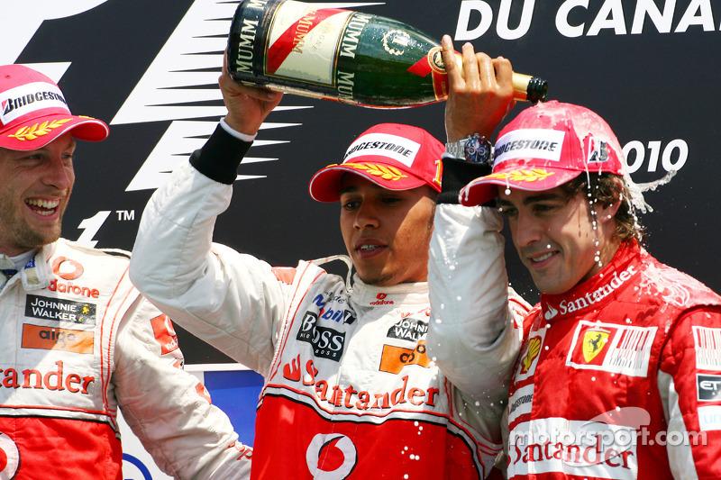 2010: 1. Льюис Хэмилтон; 2. Дженсон Баттон; 3. Фернандо Алонсо