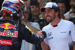 Race winner Max Verstappen, Red Bull Racing celebrates in parc ferme with Fernando Alonso, McLaren