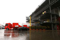 Rain in the Mugello paddock