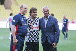HSH Prince Albert of Monaco, Fernando Alonso, McLaren and Claudio Ranieri, Leicester City Manager at a charity football match