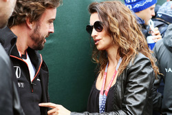 (L to R): Fernando Alonso, McLaren with Penelope Cruz, Actress