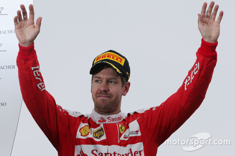 Sebastian Vettel, Ferrari celebrates his second position on the podium