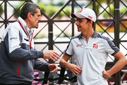 (L to R): Guenther Steiner, Haas F1 Team Prinicipal with Esteban Gutierrez, Haas F1 Team