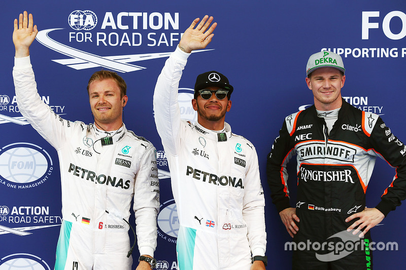 Polesitter Lewis Hamilton, 2. Nico Rosberg (Startplatzstrafe), 3. Nico Hülkenberg