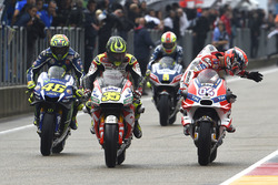 Cal Crutchlow, Team LCR, Honda; Andrea Dovizioso, Ducati Team; Valentino Rossi, Yamaha Factory Racing