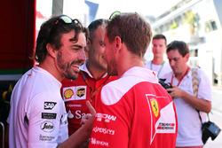 Fernando Alonso, McLaren Honda e Sebastian Vettel, Scuderia Ferrari